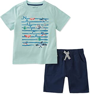 Nautica Boys' Toddler Tee with Shorts, Yellow, 3T