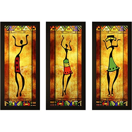 SAF Set of 3 Dancing African Lady Modern Art UV Coated Home Decorative Gift Item Frame Painting 17 inch X 24 inch SANFO788