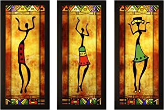 SAF Set of 3 Textured Print with Uv Framed Reprint Painting (SANFO788, 15 cm x 3 cm x 38 cm)