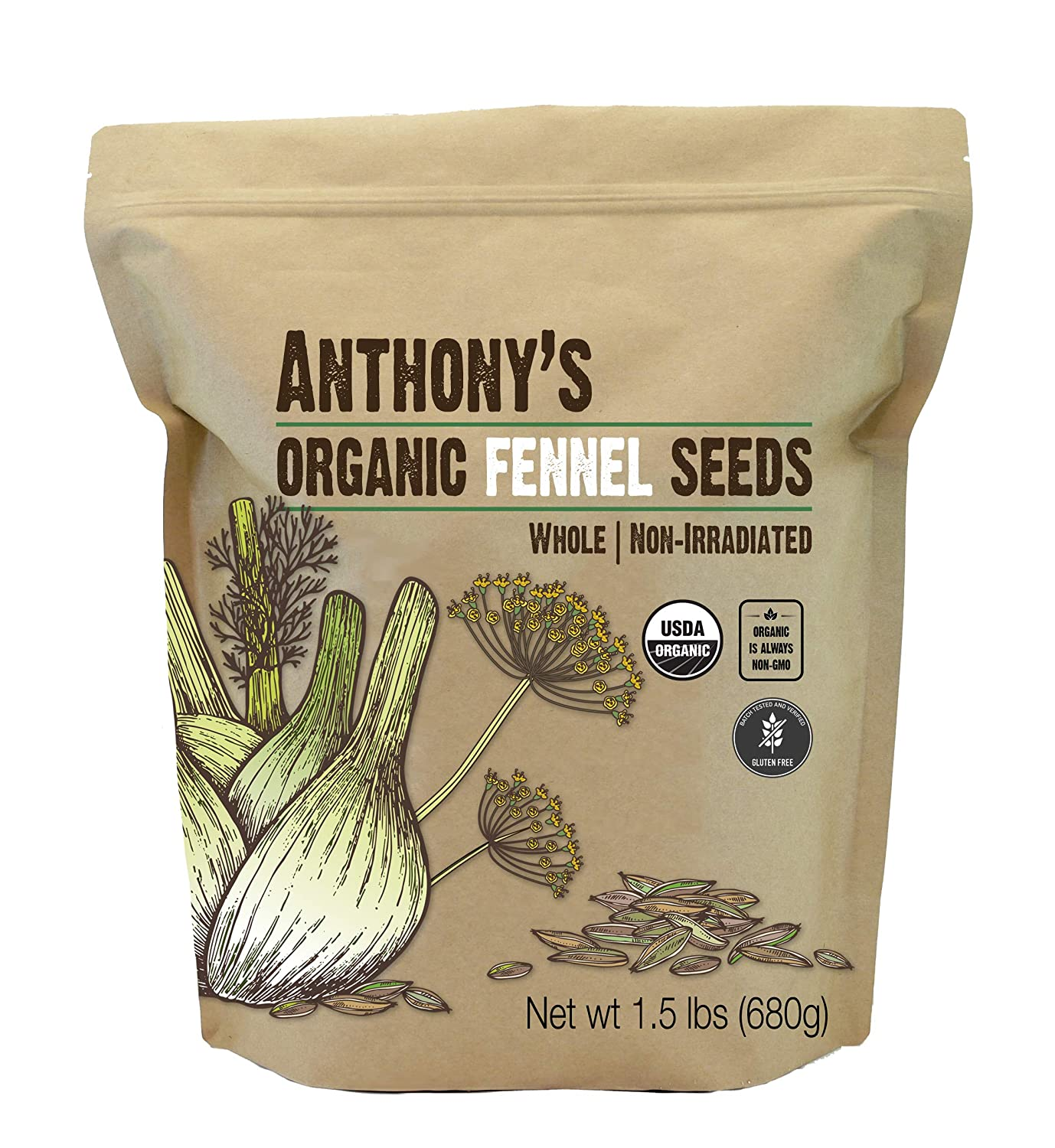 Anthony's Organic Fennel Seeds, 1.5 lb, Whole Seeds, Non Irradiated, Gluten Free, Non GMO