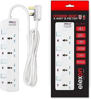 ELEXON ESMA APPROVED POWER EXTENSION SOCKET 4 WAY 2METER EL2009