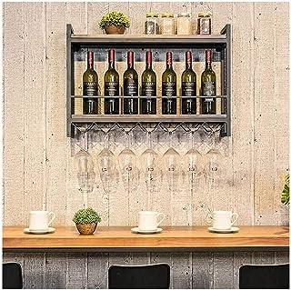 XHCP Organisation De Rangement De Cuisine Étagère De Casier À Vin en Métal Rétro Loft Mural Industriel, Bouteille De Vin |...