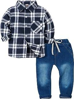 af85fa4a67c28 ZOEREA 2 Pièces Vêtements Ensemble de Bébé Garçon Manches Longue Carreaux  Chemise + Bleu Jeans Pantalon