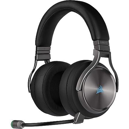 Corsair VIRTUOSO RGB WIRELESS SE, Auriculares para Juegos de Alta Fidelidad, Envolvente e Inmersivo 7.1, Micrófono Extraíble y Omnidireccional, para PC, PS4, Switch y Móviles, Gris (Plomo)