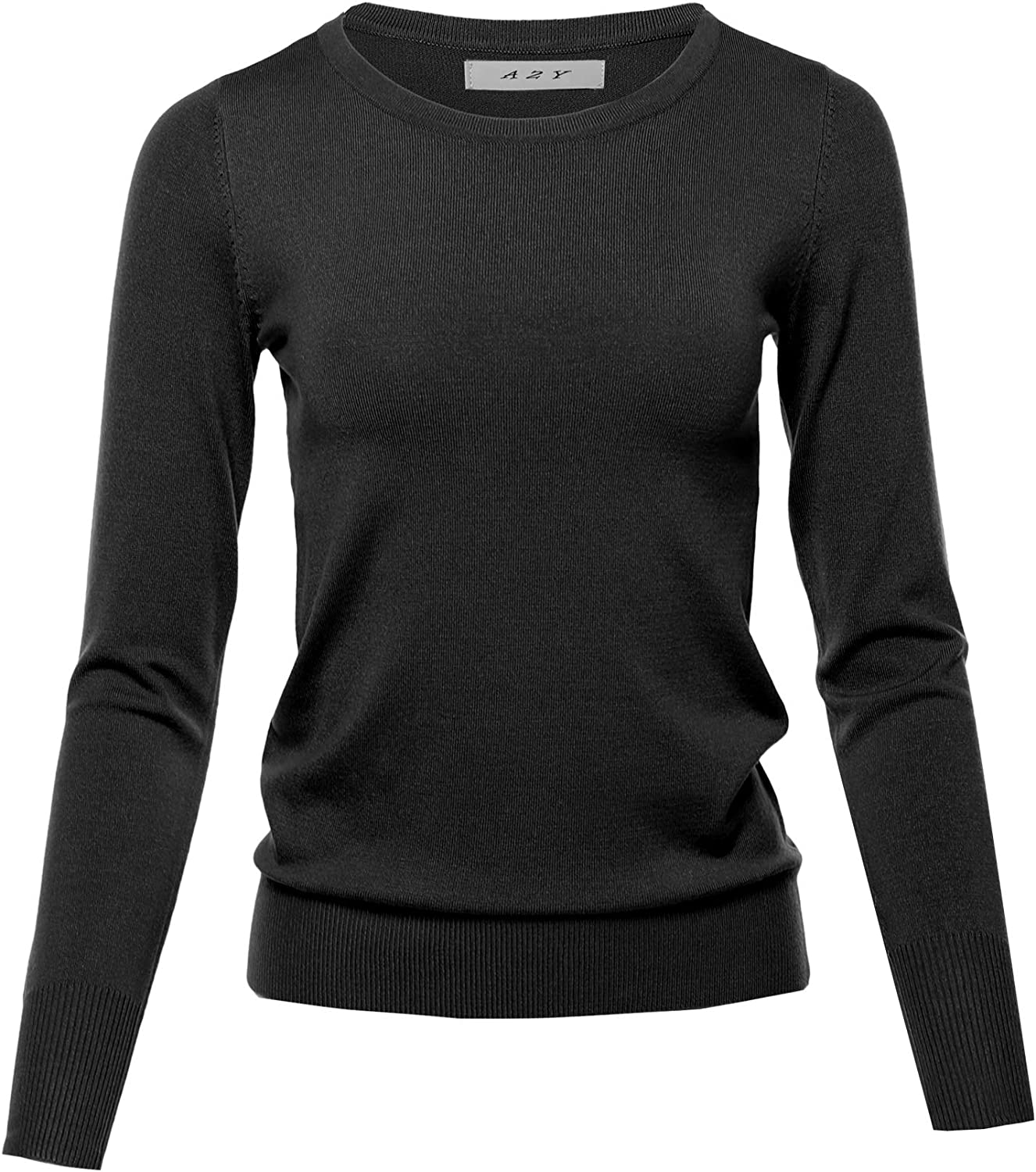 Women's Fitted Crew Neck Long Pullover Credence Sleeve Classic Outstanding Sweater