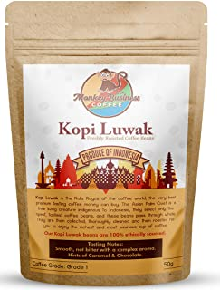 Monkey Business Coffee - Wild Kopi Luwak Coffee Whole Beans - Ethically Sourced - 50 Grams (Other Weights & Bean Types Available) - Produce of Indonesia