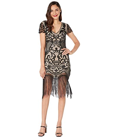 Unique Vintage 1920s Style Beaded Fringe Aurore Flapper Dress (Black/Nude) Women