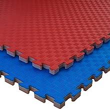 Mugar-Tatami Puzzle 100x100x2cms Azul y Rojo Reversible Esterilla Goma Espuma Estructura Pack Ideal Artes Marciales Karate Judo Pilates-Suelo Tatami Japon/és Taekwondo Yoga