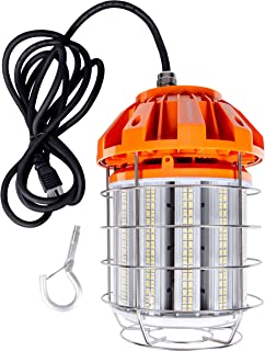 Hyperikon LED Temporary Work Light Fixture, 125W, Orange Construction Drop Light, 5000K, IP65 Waterproof, UL