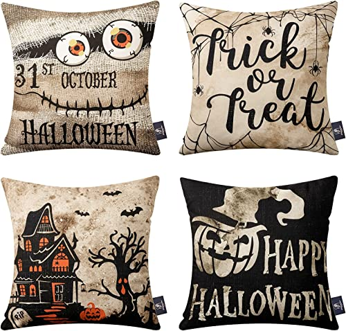 wholesale Phantoscope Set of 4 Happy Halloween Beige and Black Trick wholesale or Treat Throw Pillow Case Cushion Cover 18 x 18 inch 45 popular x 45 cm online