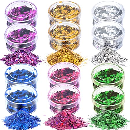 60g Chunky Glitter, HNYYZL 12 Boxes 5g Holographic Iridescent Chunky Glitter Body Glitter for Face, Arm, Hair, Nail Cosmetic, or for Festival,Party Decoration(Gold, Blue, Purple, Pink, Green, Silver)