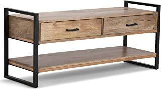 Simpli Home 3AXCRIV-04 Riverside Solid Mango Wood 48 inch Wide Modern Industrial Entryway Bench in Natural
