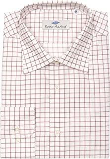 Remo Sartori - Camicia Uomo in Cotone Bianco a Quadri Rosa, vestibilità Regolare, Maniche Lunghe, Made in Italy