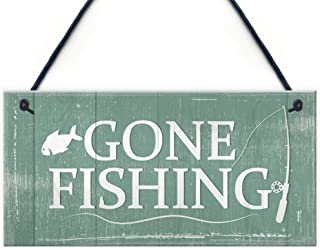 Gone Fishing Hanging Plaque Nautical Decor Sign Dad Grandad Shabby Chic Birthday Gift Home Plaque