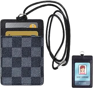 Lanyard ID Badge Holder Leather Credit Card Wallet - Black