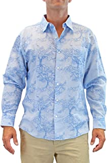 Men's Banyan Tree Long-Sleeve Linen Cotton Blend Casual Button Down Shirt