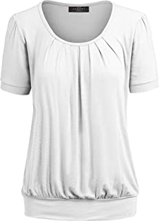 Women's Scoop Neck Short Sleeve Front Pleated Blouse Tunic top S-3XL Plus Size Made in U.S.A.