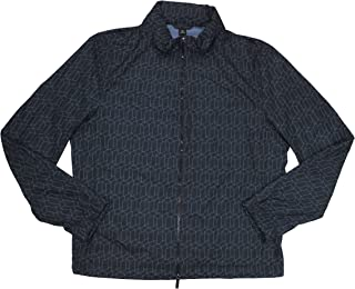 Carpio Nylon Water Repellent Geometric Print Jacket Denim
