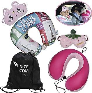 NICE COM SUPPLY - Adult & Kids Travel Neck Pillows Kit - 2 Convertible Neck Pillows - 2 Cute Eye Masks & Backpack - Head N...