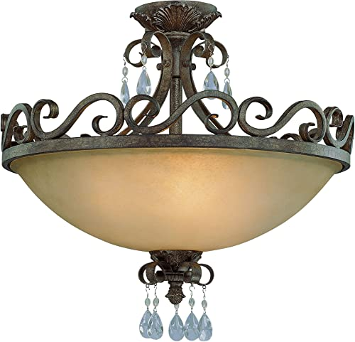 """popular Craftmade 25634-FR Englewood Crystal Semi Flush Ceiling Lighting, 4-Light, 400 Watts, French Roast (24""""W x lowest lowest 20""""H) outlet sale"""