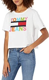 Tommy Hilfiger womens Short Sleeve Graphic Cropped Tee S/S RNBW LINEAR TEE