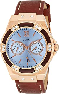 Guess Womens Quartz Watch, Analog Display and Leather Strap W0775L7