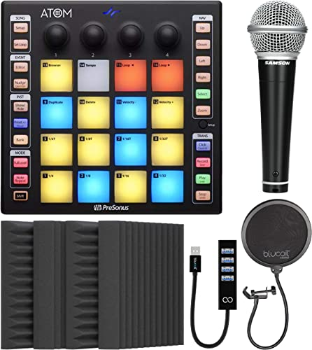 """high quality PreSonus ATOM Production and Performance Pad Controller high quality Bundle with Blucoil 4-Pack of 12"""" Acoustic Foam Isolation Panel Wedges, USB-A Mini Hub, Samson R21S Dynamic Microphone and Pop Filter new arrival Windscreen outlet online sale"""
