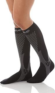 Mojo Compression Socks Unisex Graduate Knee Length   Silver Design   Black 3XL