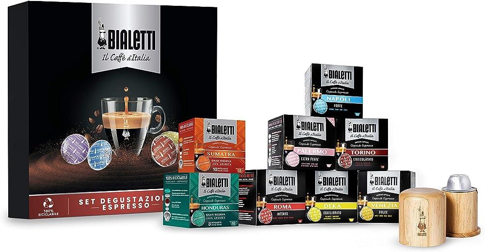 Bialetti il caffè d`italia, set degustazione espresso, 120 capsule, gusti vari, con apri capsule in legno