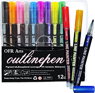 Metallic Double Line Outline Pens Pack of 12 by OFR | Pack of 12 Self Outline Markers for Kids and Adults | Line Paint Pen...