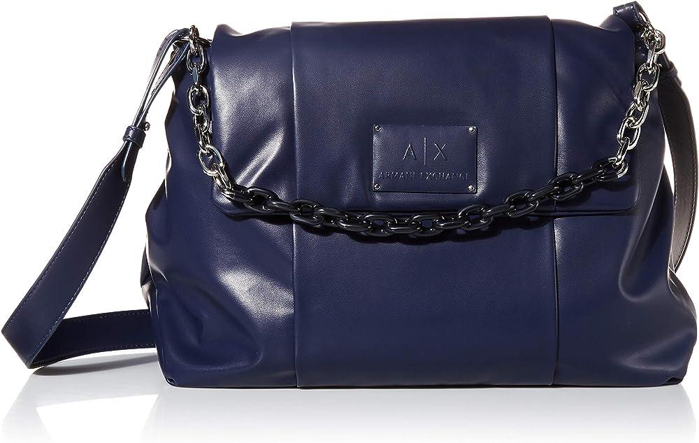 Armani exchange, borsa da donna ecopelle blu 9426740A83937735