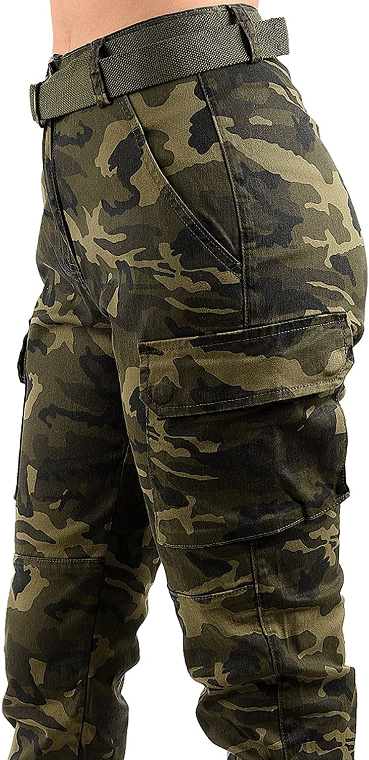 TwiinSisters Women's High Waist Slim Fit Jogger Cargo Camo Pants for Women with Matching Belt
