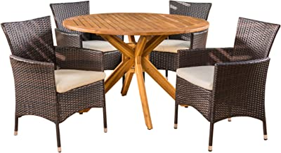 Christopher Knight Home Jacob Outdoor 5 Piece Multibrown Wicker Set with Teak Finish Circular Acacia Wood Dining Table and Beige Water Resistant Cushions