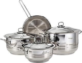 Prestige PR7001 9 Pieces Cookware Set, Silver, Stainless Steel