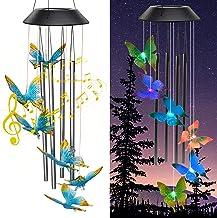 زنگ های خورشیدی Zawino برای خارج ، بادگیرهای پروانه ای با لوله های فلزی موسیقی ، 7 رنگ چراغ های LED را تغییر می دهد ، زنگ های باد ضد آب برای فضای باز ، باغ ، دکور حیاط ، یادبود عشق ، هدیه مامان