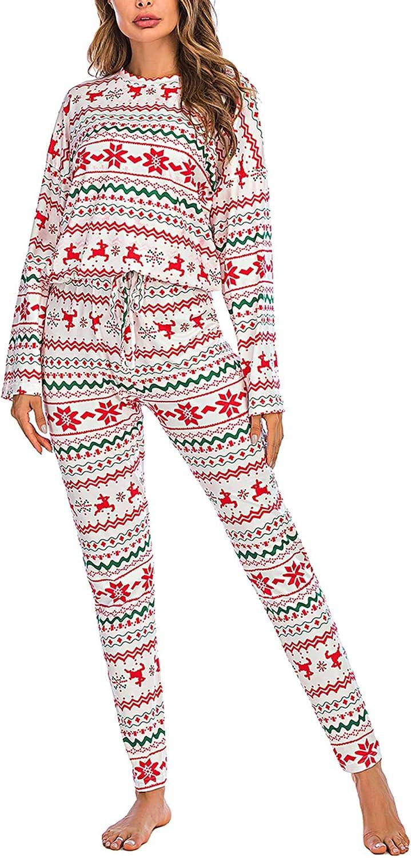 BLACKPING Women Christmas Pajamas Sets 2 Piece Nightwear Layer Thermal Underwear Set Long Sleeve Top Pant Sleepwear