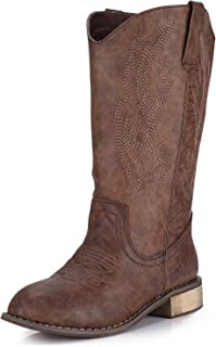 Women's Western Cowboy Boots Mid Calf Round Toe