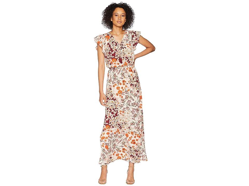 Adrianna Papell Cap Sleeve Maxi Dress (Geranium Multi) Women
