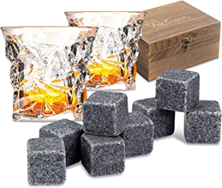 Fine Occasion Whiskey Stones Gift Set with 8 Premium Granite Stone Whiskey Rocks in Wooden Gift Box - Includes 2 Full Sized Diamond Whiskey Glasses