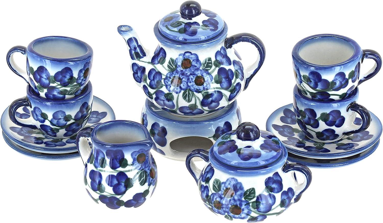 Blue Rose Polish Pottery Royal Vine Miniature Tea Set