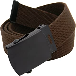 Men's Black Slider Military Belt Buckle with Canvas Web Belt