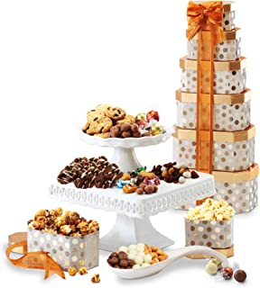 Broadway Basketeers Gourmet Gift Tower with an Assortment of Snacks, Sweets, Cookies and Nuts