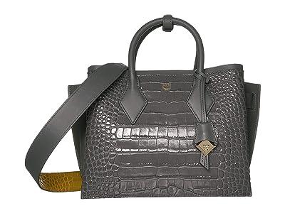 MCM Neo Milla Embossed Croco Tote Medium (Charcoal) Handbags