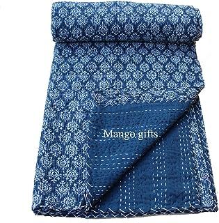 Bazzaree Kantha Couvre-lit Simple en Tissu Bleu Ciel 152,4 x 228,6 cm