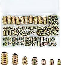 PGMJ 130 Pieces Metric Threaded Insert Nuts Assortment Tool Kit for Wood Furniture Zinc Alloy Furniture Bolt Fastener Conn...
