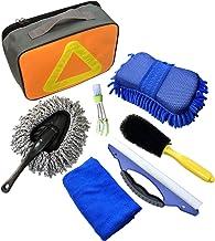 Kit di lavaggio auto 7 pezzi strumenti di pulizia auto con asciugamani in microfibra spugna per guanti, lama acqua per finestre, spazzola di ventilazione per auto, spazzola per pneumatici