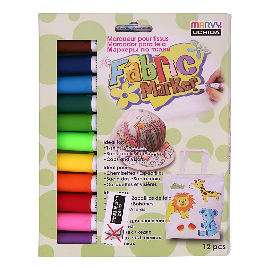 Uchida Marvy Permanent Fabric Marker Clothing, Decor 6/10/12 Colors (Primary - 12 Colors)