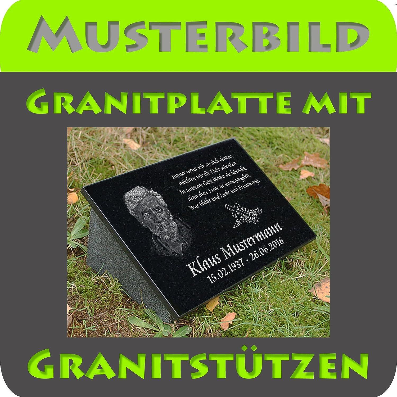 Grabplatte oder Grabschmuck mit dem Motiv Grabstein-ag14 und Ihrem Foto//Text und Daten LaserArt24 Granit Grabstein