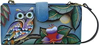 Anna by Anuschka Handpainted Leather Women's Organizer Wallet, mno-midnight owl, One Size