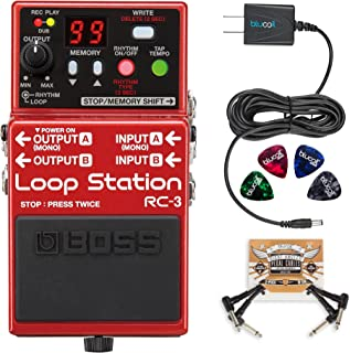 BOSS RC-3 Loop Station Stereo Recorder Pedal Bundle with Blucoil Power Supply Slim AC/DC Adapter for 9 Volt DC 670mA, 2-Pack of Pedal Patch Cables, and 4-Pack of Celluloid Guitar Picks